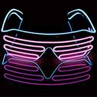 Neon EL Wire Glasses, ZZM Shutter Party Glasses Luminous LED Light Glasses Bar Party Fluorescent Dance DJ Bright Glasses Christmas Fashion Neon LED Light Glow Rave Costume