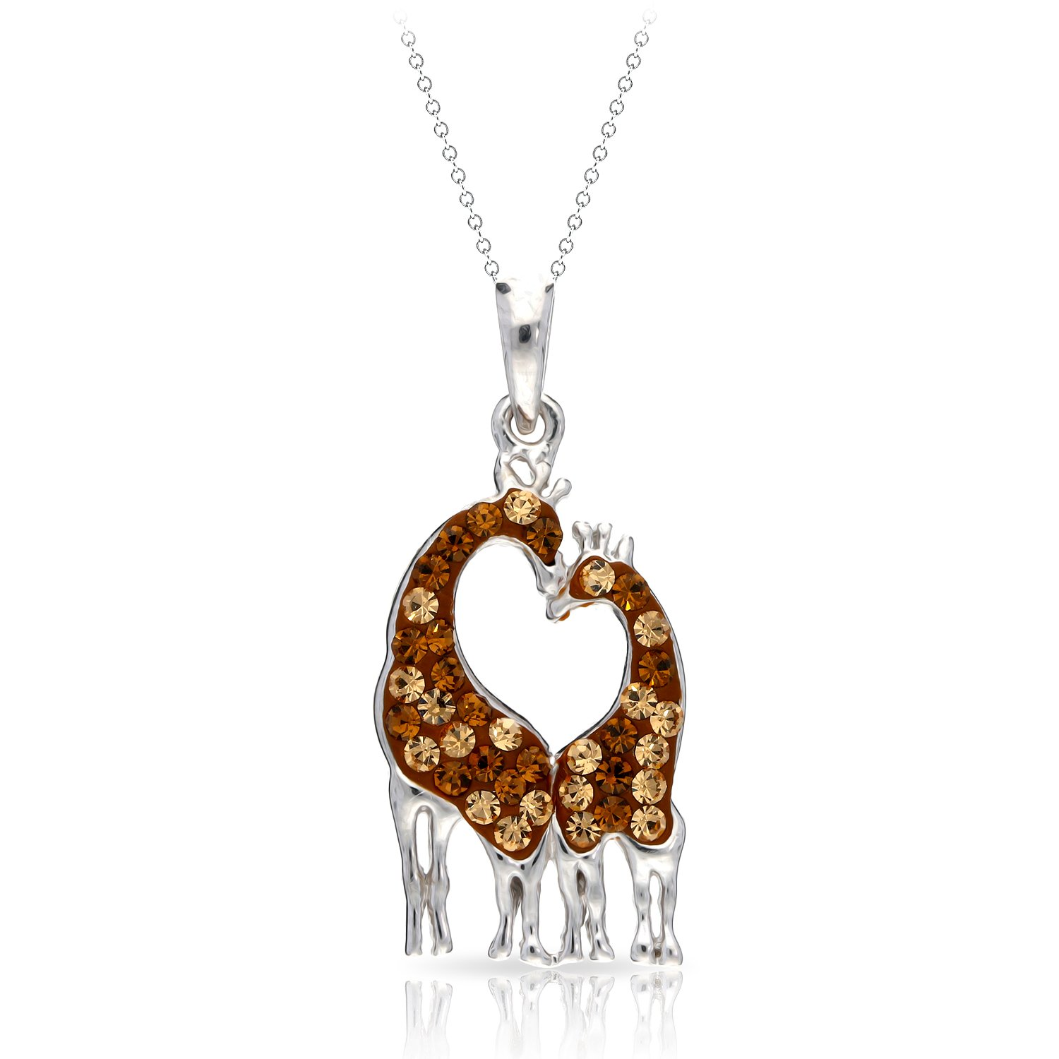 Gentle   Elegant Giraffe Couple in Love Pendant Necklace Never Rust 925  Sterling Silver Hypoallergenic Chain for Women and Girls 584d25ed4f16