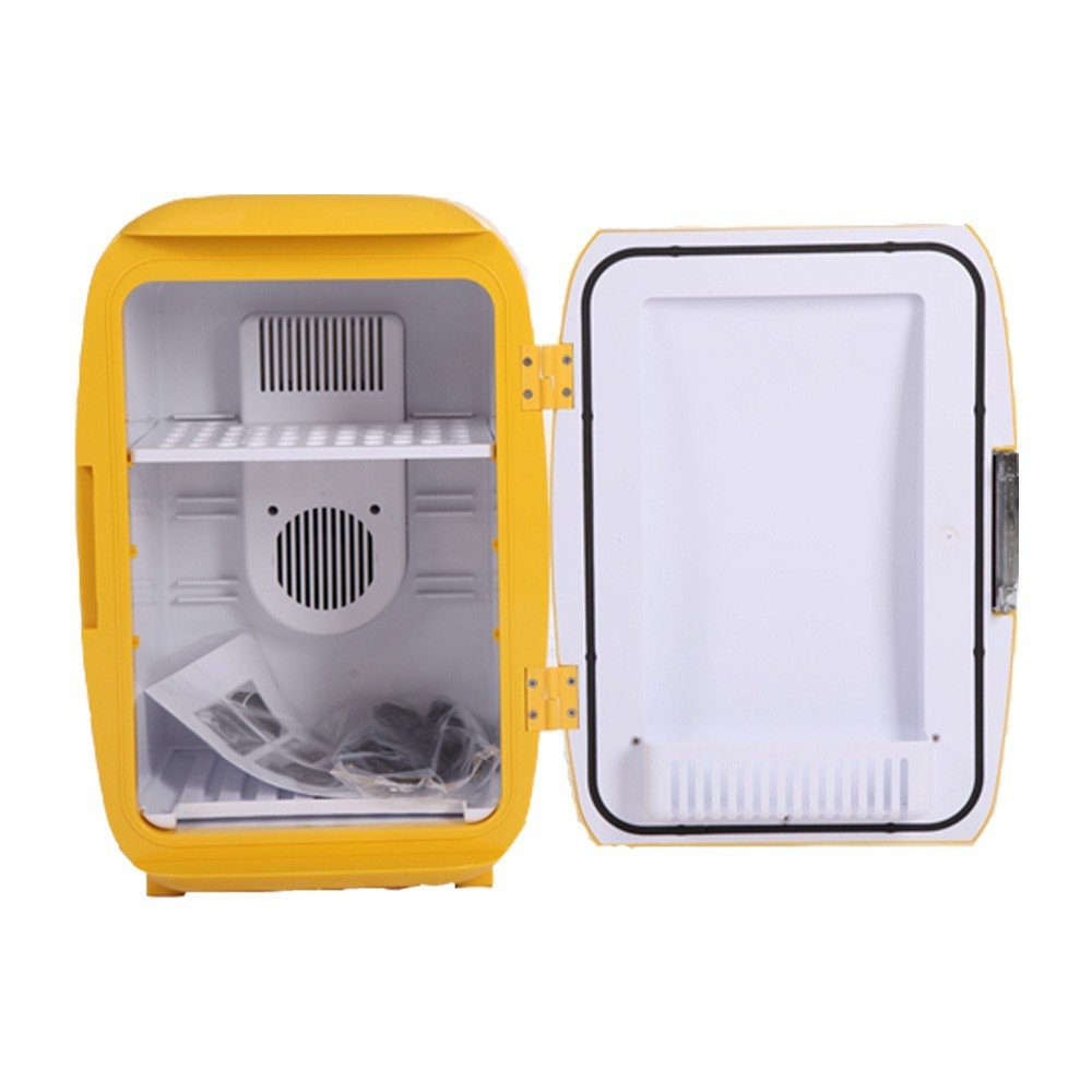 Portable Electric Mini Fridge (16L/17 Can Yolk Yellow) Compact Fridge, (Ship from US) Thermoelectric Cooler and Warmer,Car Refrigerator,Mini Refrigerater for Home,Car, RV,Bedroom,Office,Dorm