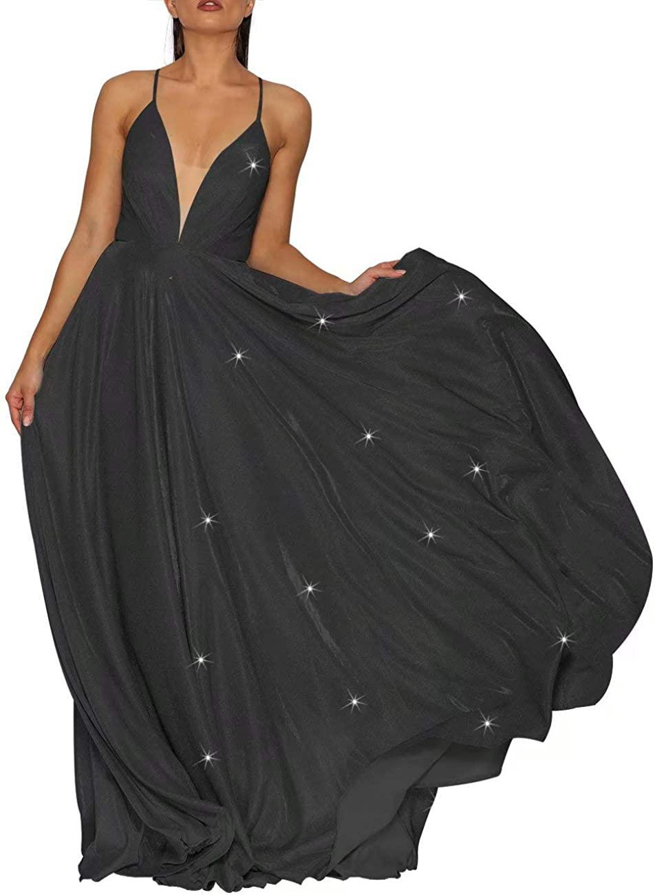 Leeskoot-Glittery Prom Dress Long Backless Spaghetti Strap Shimmering Evening Ball Gown