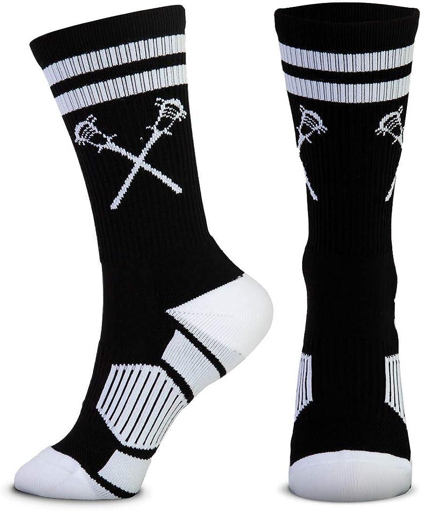 Lacrosse Woven Mid-Calf Socks | Retro Crossed Sticks | Multiple Colors