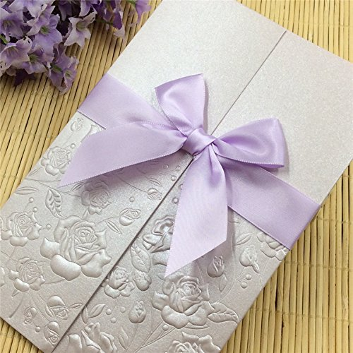 50-Packed Elegant Rose Flowers Invitations Cards Kit Printable for Wedding Bridal Shower with Envelopes and Seal Sticker (Light purple)