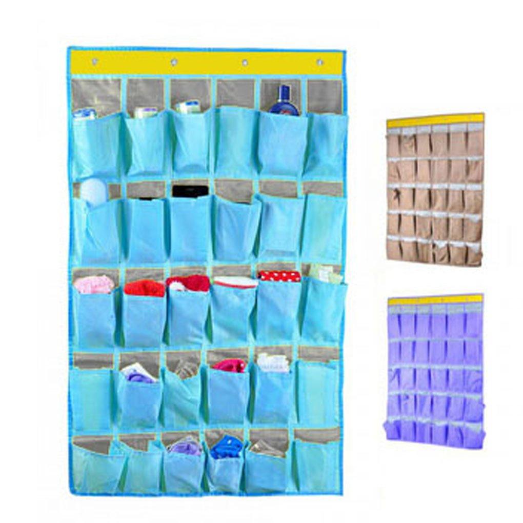 30 Pockets Durable Oxford Fabric Dorm Room Over Wall Door Closet System Organizer Shoes Hanging Storage Bag Cellphone Books Garage Shelf Rack Holder,4 Metal Hooks