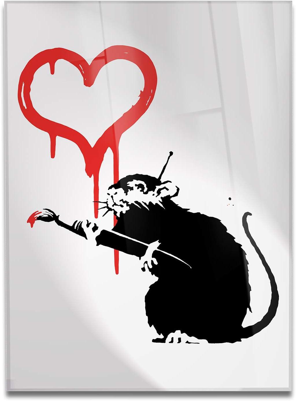 Love Rat 50x70 cm Verschiedene XXL-Formate Moderne Bilder f/ür Heimtextilien Haus Design Banksy Giallobus Bild bereits gerahmt Kochen Druck auf Leinwand