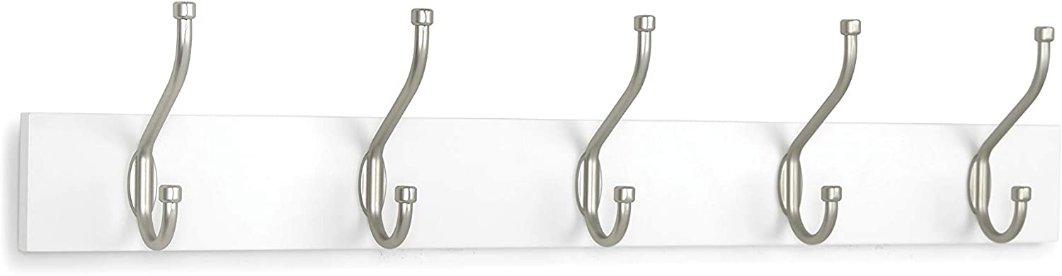 AmazonBasics Wall Mounted Standard Coat Rack, 5 Hooks, Set of 2, White