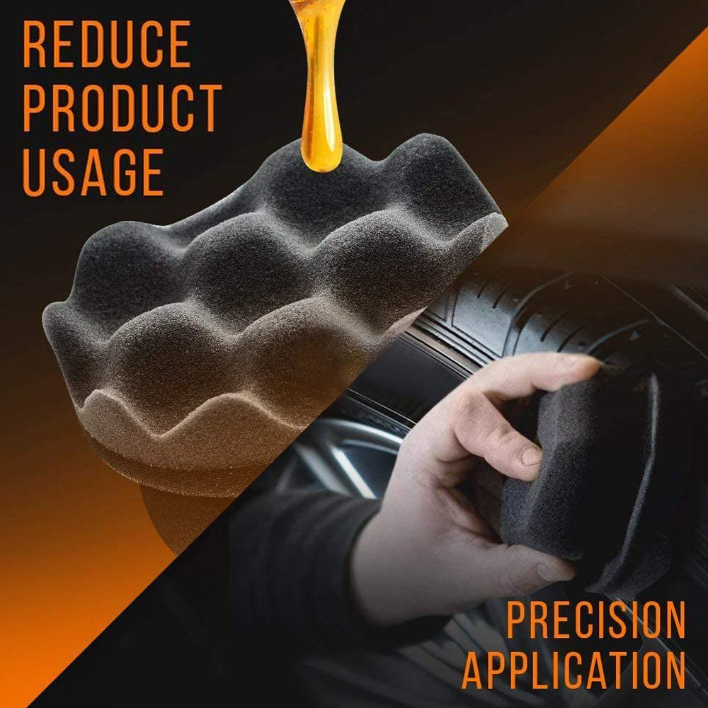 Keeps Tires Shine Tire Shine Applicator Ergonomic Design Chemical Guys Tire Brush Tire Dressing Applicator Pad Durable black, 3 St/ücke Perfect for Tire Detailing Reusable and Washable
