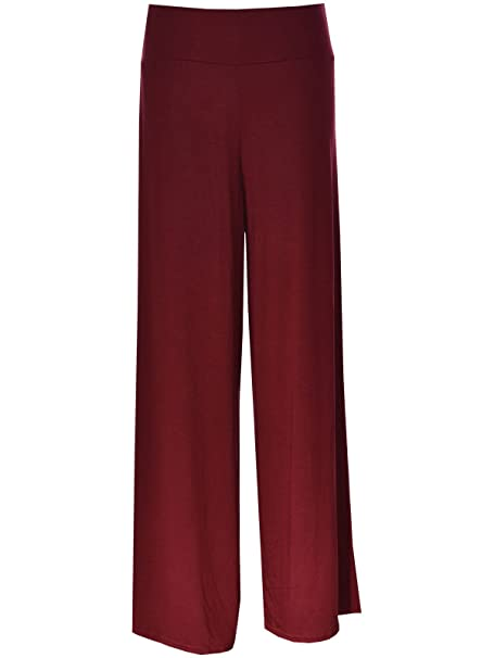 801e6268987 Image Unavailable. Image not available for. Color  Papaval Women Ladies  Palazzo Plain Flared Wide Leg Baggy Trousers ...