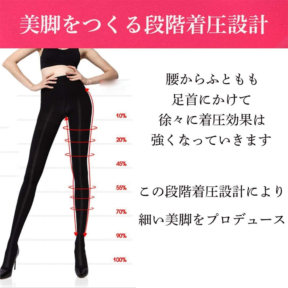 美脚体験 着圧タイツ レディース 女性用 着圧 むくみ タイツ 黒 ソックス 暖かい 着圧 強力 引き締め ダイエット ストッキングM,L,LL むくみ改善