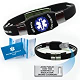 Waterproof Elite Medical ID Bracelet (incl. 10 lines of engraving on acrylic plate. Choose Your Color! (Black)