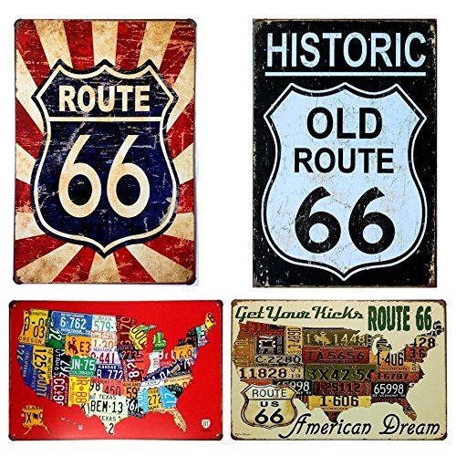 Route 66 Vintage Tin Sign Wall Retro Metal Bar Pub Poster