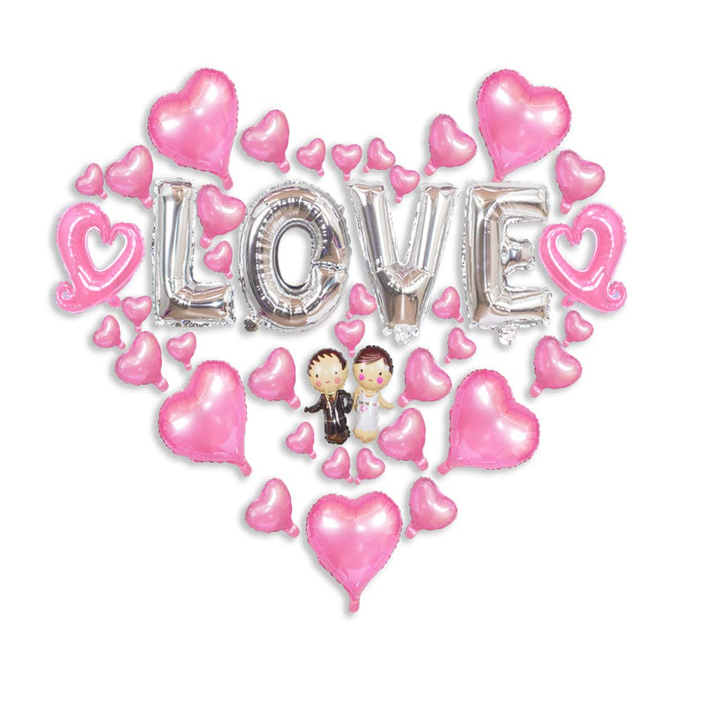 SOWOW Gifts for her I Love U Balloon for Wedding Birthday Valentine Party Decor Set-1-Pink Heart Shape Latex Balloons Heart Balloon Set for Valentines Day Decoration