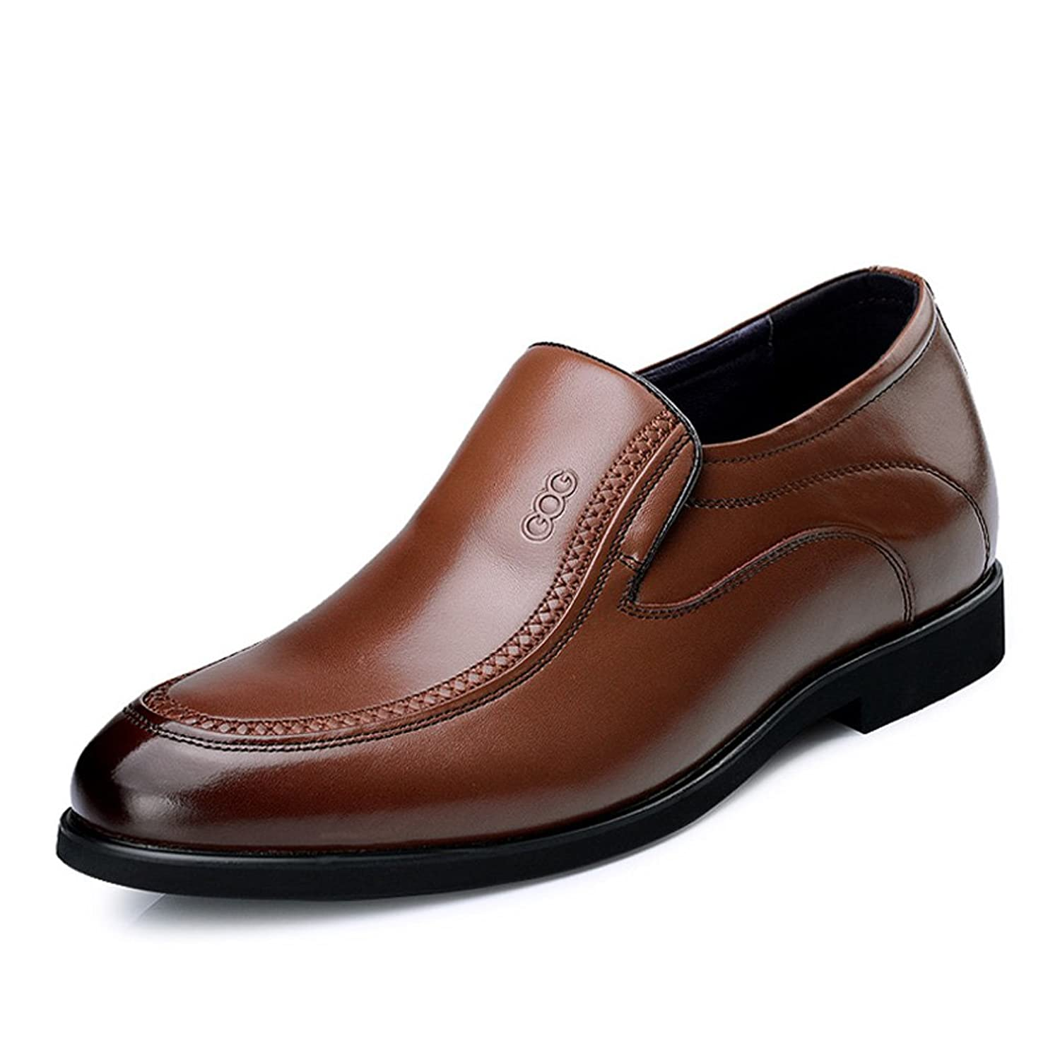 2.56 Inches Taller - Men's Height Increasing Elevator loafers-Brown Genuine Leather Dress Wedding Shoes