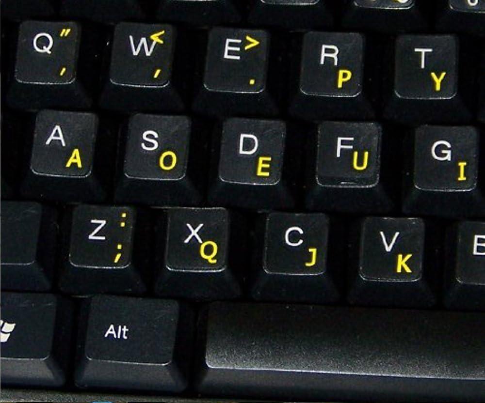 Qwerty Keys Pegatinas Teclado Dvorak Transparentes con Letras Amarillas - Apto para Cualquier Teclado