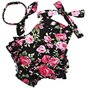 Fubin Baby Girl's Floral Print Ruffles Romper Summer Clothes With Headband,Black Rose,0-6 months