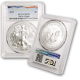 2018 1 oz Silver American Eagle $1 Coin PCGS MS 69 First Strike Flag Label