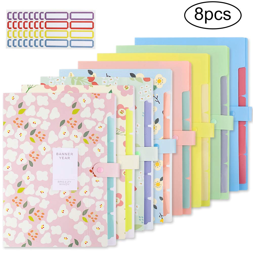 EOOUT 8pcs Expanding File Folders, Plastic Accordion Document Organizer with 5 Pockets Snap Closure, for US Letter/A4, with 64 Labels Stickers