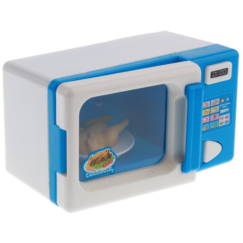 Mini Home Appliance (AA Battery Powered) for Kids Pretend Play Toys - Blue Microwave Oven by Homyl