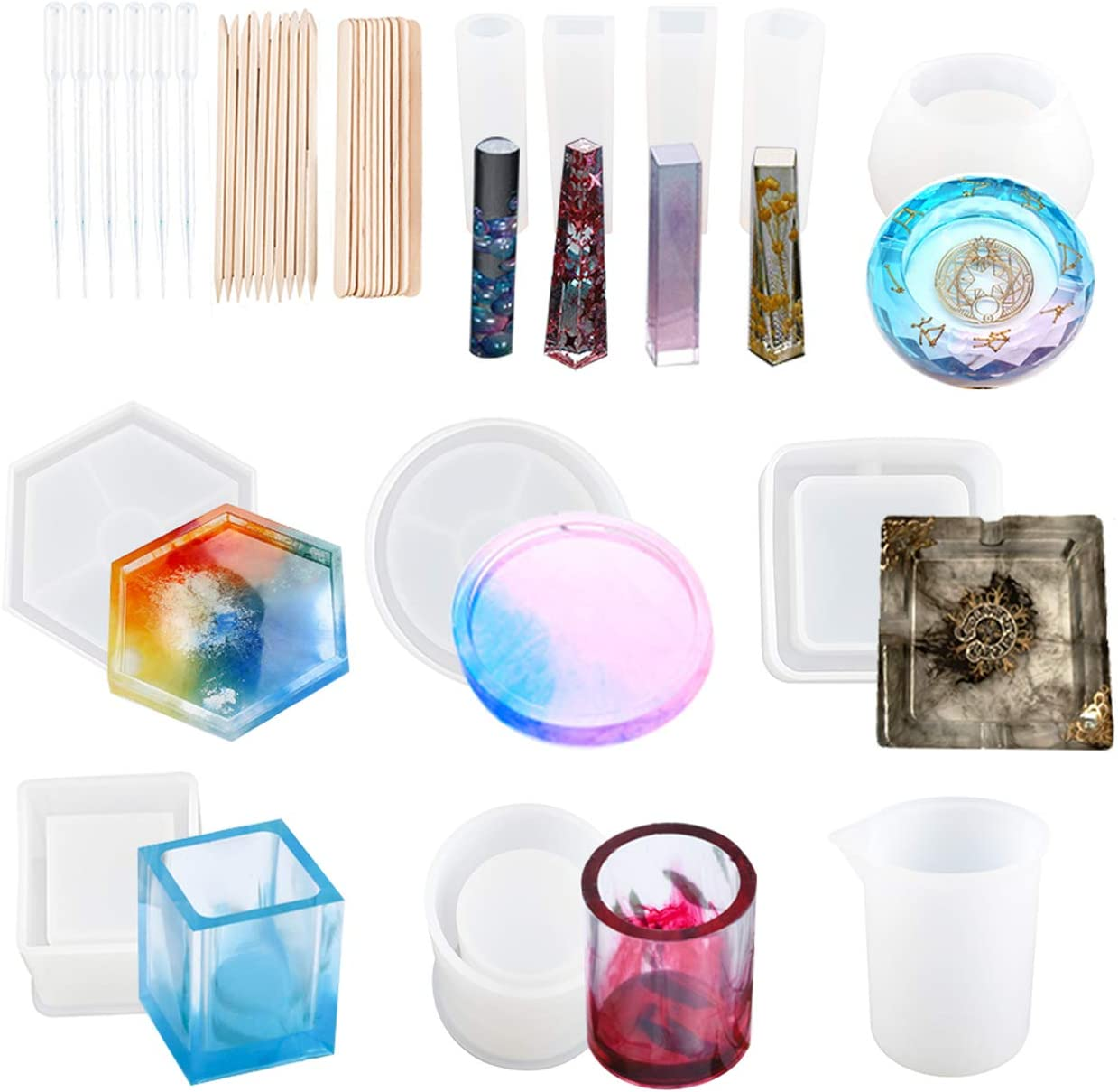 Toolly 37Pcs Silicone Molds Resin Epoxy Resin Casting Art Molds for DIY Cup Pen Soap Candle Holder Ashtray Flower Pot Coaster Pendant Cylinder Cuboid Hexagon Round Molds