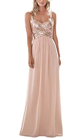 Womens Sequin Chiffon Bridesmaid Dress Long Prom Dress A Line Rose Gold US0