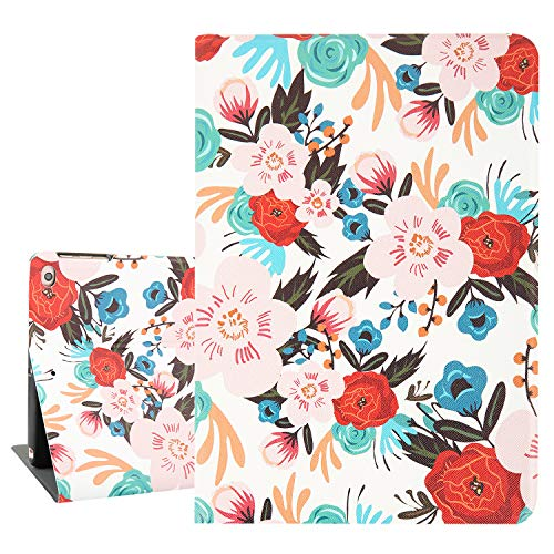 """Hepix Floral iPad 6th Gen Case Red Flowers iPad 9.7 Cases, Lightweight Protective iPad Air 2 Case PU Leather Floldable Stand with Auto Sleep Wake Function Hard Back for iPad 9.7"""" 2018/2017"""