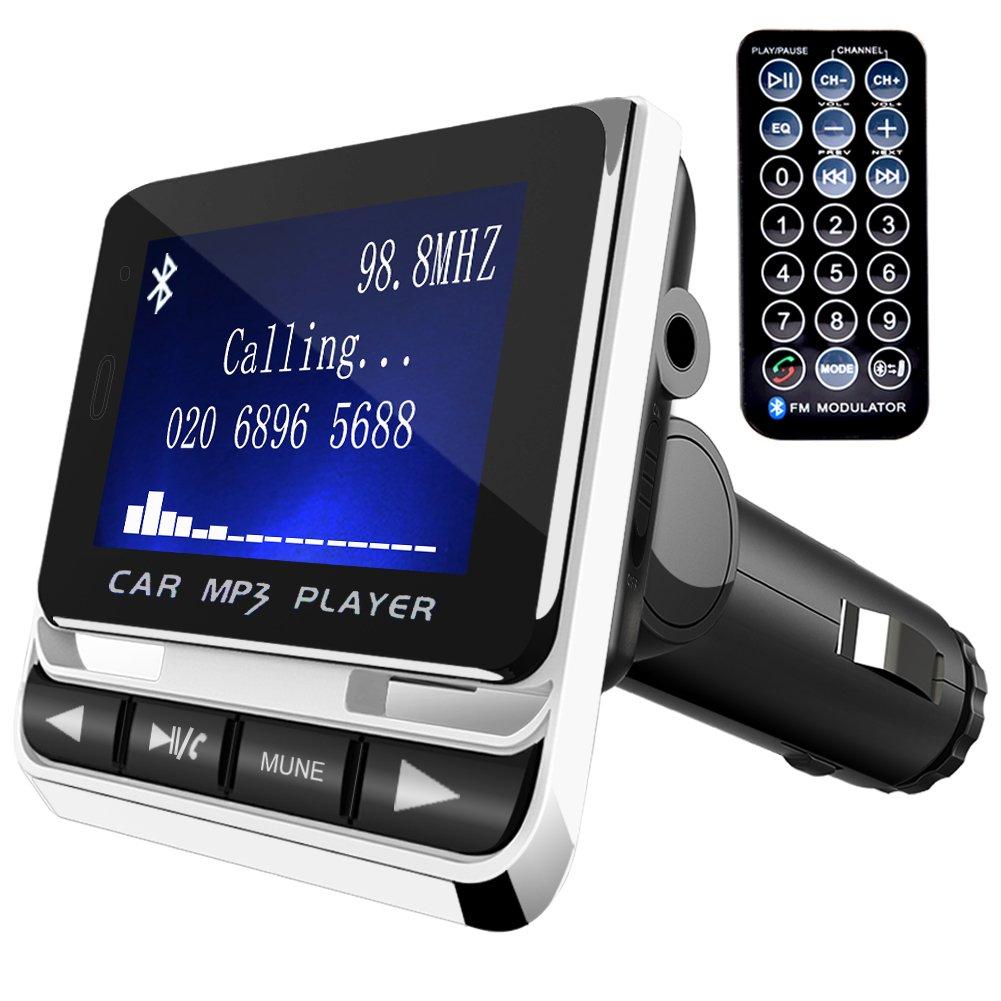 Transmisor FM, Tinzzi Bluetooth Transmisor para Coche, Transmisor con Micró fono reproductor mp3 Coche con Tarjeta TF Cargador USB y Control Remoto para Telé fonos / Tabletas /GPS /IPods /MP3 y má s. FM-01
