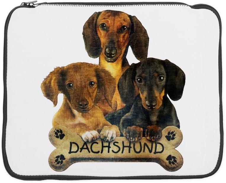 15 Inch Laptop Sleeve Dachshund Trio with Bone Name Plate