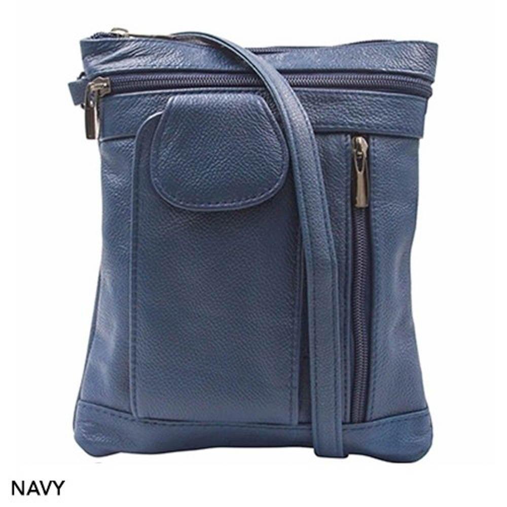 ''On-the-Go'' Soft Leather Crossbody Bag - 6 Styles (Navy)