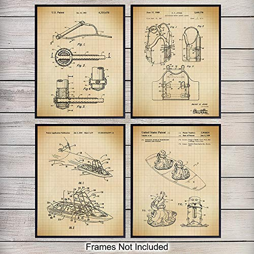 Wakeboarding Wall Art Patent Print Set - Vintage Wakeboard Home Decor for Beach or Lake House, Den, Office, Man Cave - Perfect Gift for Men, Boys, Wakeboarders and Extreme Sports Lovers