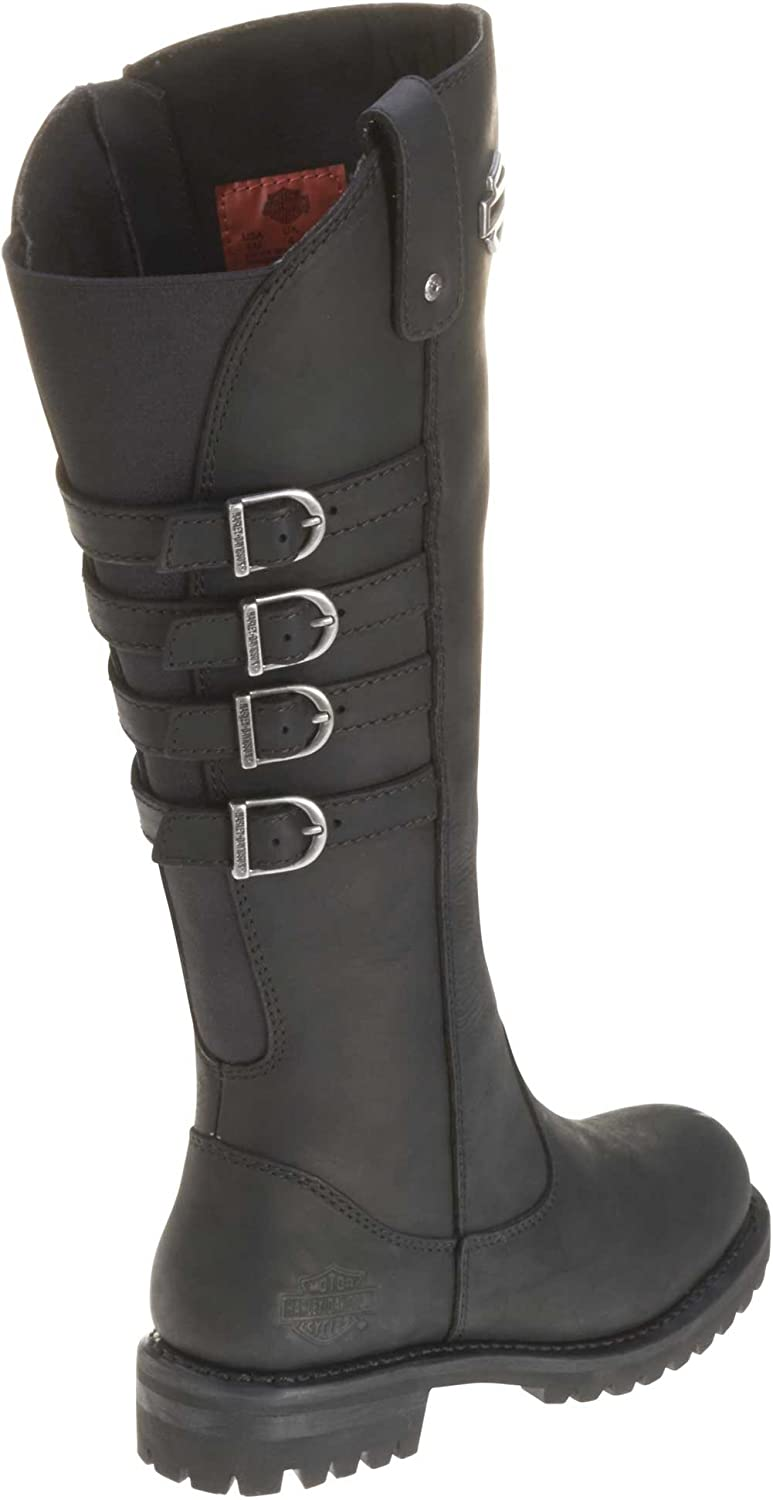 D87038 Harley-Davidson Womens Josi 15-Inch Black Leather Motorcycle Boots
