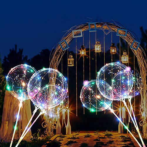4 PCS LED Light Up Balloons Multicolored for Kids 18 Inch Transparent Bobo Balloon with Flashing Lights Colorful Glowing Party Wedding Decoration -