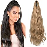 """SEIKEA Ponytail Extension Claw Clip 16"""" 24"""" Long Wavy Curly Hair Extension Jaw Clip Ponytail Hairpiece Synthetic Pony Tail (2"""