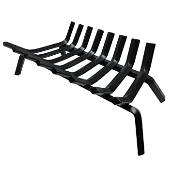 "Buy Black Wrought Iron Fireplace Log Grate 24 inch Wide Heavy Duty Solid Steel Indoor Chimney Hearth 3/4"" Bar Fire Grates for Outdoor Fire Place Kindling Tools Pit Wood Stove Firewood Burning Rack Holder: Fireplace Grates - Amazon.com ? FREE DELIVERY poss"