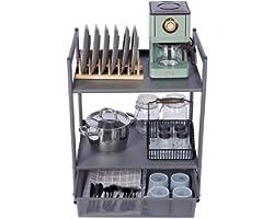 Utility Shelf Microwave Storage Stand Kitchen Storage Table 2-Tier Standing Shelf Jubao Utility Cart with Storage for Kitchen