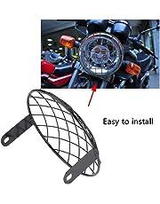 "GOTOTOP Motocicleta 7"" Faro Mesh Grill Montaje Lateral Universal Cover Mask para Cafe Racer"