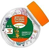 Borracha Decorada 4 Formatos Sortidos - Pote com 12 Unidade(s), Leonora, 72204, Multicor