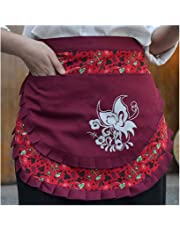 CRB Fashion Waist Apron Pocket Commercial Restaurant Waitress for Girl Woman Half Bistro Aprons