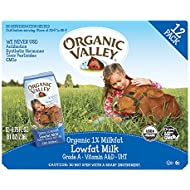 Organic Valley, Organic Milk Boxes, 1% Plain Lowfat Milk, 6.75 oz (Pack of 12)