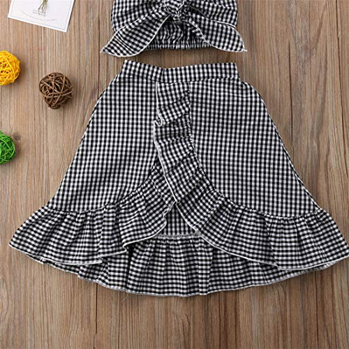 Baby Girl Toddler 2/3 Sleeve Black Crop Top + Grey Shorts Bowknot Skirts Outfit Clothes 2Pcs/ Set (Plaid, 6-12 Months) by Mornbaby (Image #3)