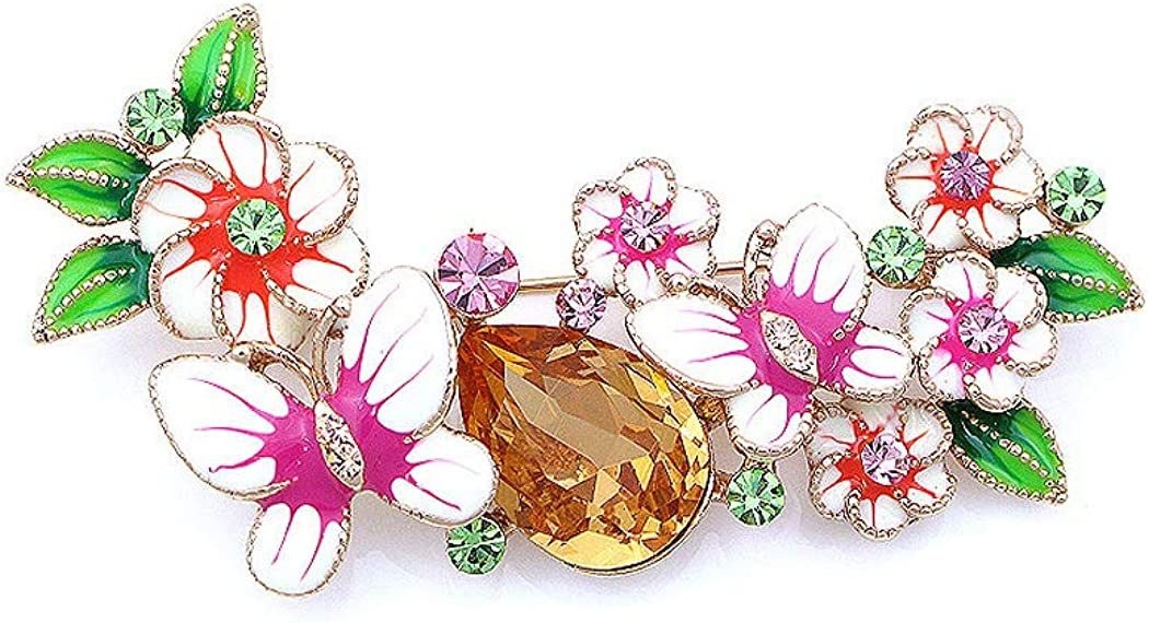 4670 Glamorousky Dazzling Butterfly and Flower Brooch with Multi-Color Austrian Element Crystals and Orange CZ