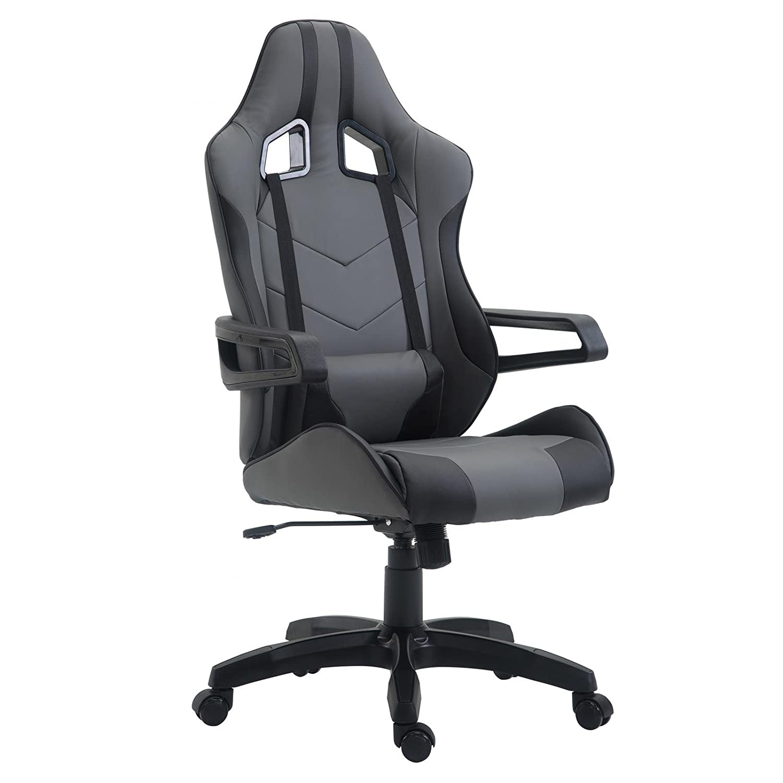CARO-Möbel Gaming Drehstuhl Play Lederimitat in grau schwarz Bürostuhl PC Schreibtischstuhl Chefsessel Racer, höhenverstellbar Wippmechanik