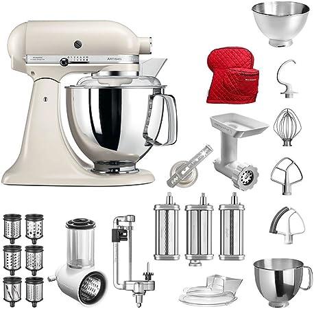 Robot de cocina de KitchenAid Artisan, modelo 5KSM175PS; el paquete incluye-Accesorios principales:Cortador de verduras, picadora, cortador en espiral, accesorio de pasta, accesorio de galletas, cubierta y accesorios estándar.: Amazon.es: Hogar