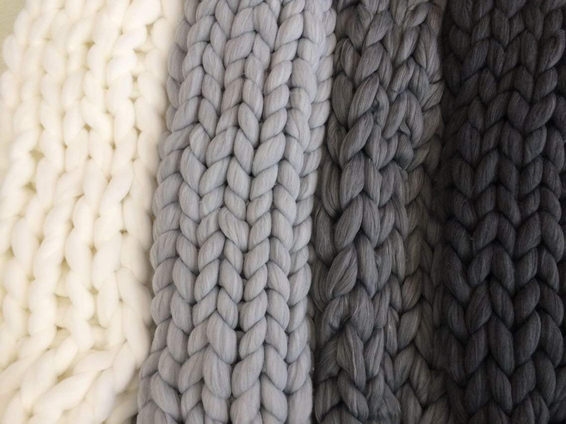 clootess Bulky Chunky Yarn Big Roving Wool for Hand Made Knitted DIY Sofa Bed Throw Blankets Light Grey 8 lbs = 3.6 kg by clootess (Image #6)