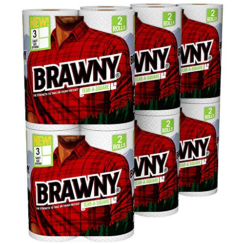 Brawny Tear-A-Square Paper Towels, 12 Rolls, 12 = 24 Regular Rolls, 3 Sheet Size Options, Quarter Size Sheets ()