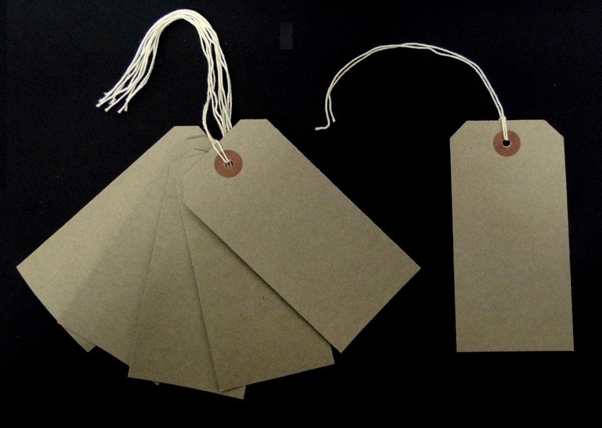 Ivy-Marron étiquettes avec ficelle-Chamois - 70 mm x 35 mm-Étiquettes pour bagages attaches étiquettes à billets de 200 étiquettes (Lot de 2)