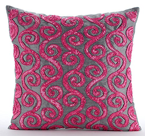 Pink Decorative Pillows Cover, Beaded Fuchsia Pink Scroll Pillows