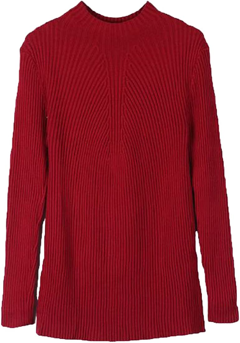 KLJR-Women Blouse Plus Size Mock Neck Slimming Pullover Turtleneck Thicken Sweater Cardigan Coat one US S