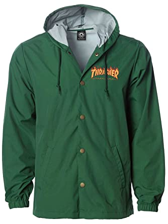 THRASHER Chaqueta Flame Logo Forest Verde (Top S, Verde)