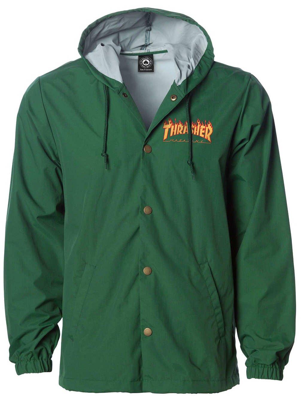 Thrasher Skateboard Magazine Flame Logo Hooded Coach Jacket (Green) (Large)