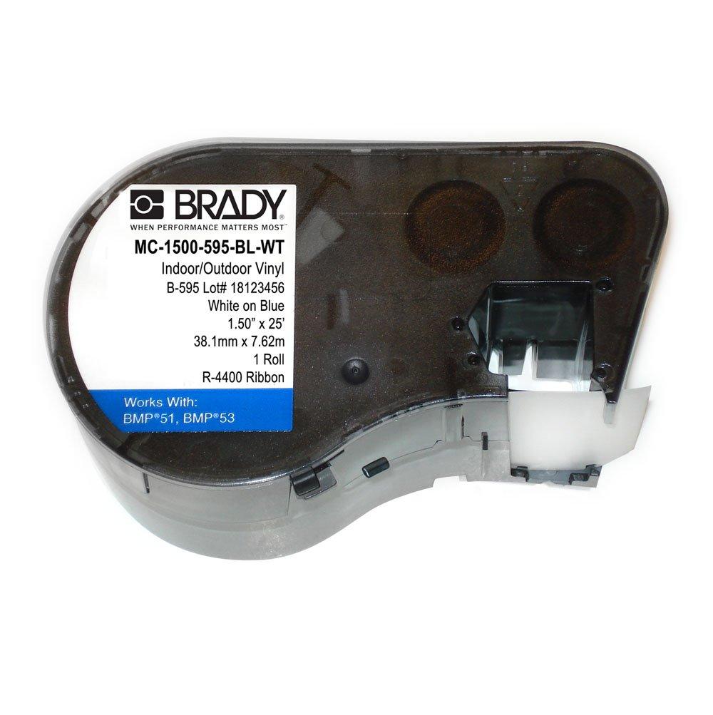 Brady MC-1500-595-BL-WT Vinyl B-595 White on Blue Label Maker Cartridge, 25\' Width x 1-1/2\' Height, For BMP51/BMP53 Printers 25' Width x 1-1/2 Height Brady Worldwide Inc