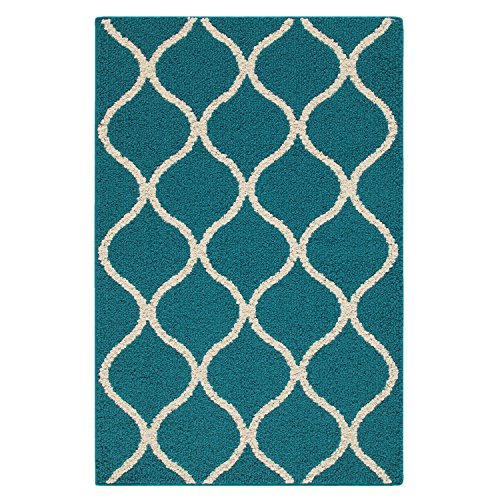Cheap Maples Rugs Kitchen Rug – Rebecca 2'6 x 3'10 Non Skid Small Accent Throw Rugs [Made in USA] for Entryway and Bedroom, Teal/Sand